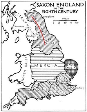 Mapa królestw Anglosaskich w VIII wieku.