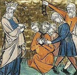 Saladyn i jeńcy chrześcijańscy na średniowiecznej miniaturze.