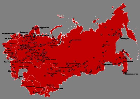 Mapa Związku Radzieckiego z zaznaczonymi łagrami. Ich liczba to najlepszy dowód na opresyjność komunistów (autor: Antonu; lic. CC ASA 3.0).