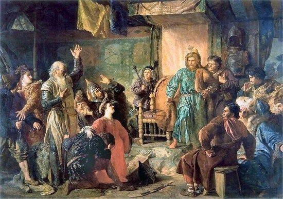 Dla Kiejstuta konflikt z Jagiełłą skończył się tragicznie. Najpierw trafił do niewoli, a ledwie tydzień później już nie żył. Wojciech Gerson na swoim obrazie uwiecznił moment w którym Kiejstut oraz Witold zostają więźniami Jagiełły.