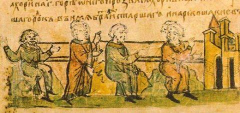 Kij, Szczek, Choryw i ich siostra Łybedź. Miniatura ze średniowiecznego rękopisu.