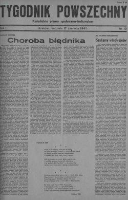 """Pierwsza strona jednego z pierwszych numerów """"Tygodnika Powszechnego"""" (1945 rok)."""