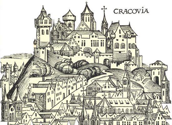"""Najstarszy zachowany widok Krakowa zamieszczony w """"Księdze kronik"""" Hartmanna Schedla z 1493 r."""