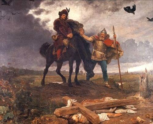 Powrót Kazimierza do Polski na XIX-wiecznym obrazie. Niemieckich rycerzy dziwnym trafem nie namalowano...