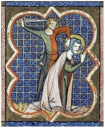 """Ścięcie św. Longinusa. Ilustracja pochodząca z XIV-wiecznych """"Żywotów świętych"""" Richarda de Monbastona"""