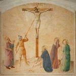 Fresk Fra Angelico przedstawiający moment w którym Longinus przebija bok Chrystusa. Za chwilę setnik uzna boskość Jezusa i stanie się pierwszym chrześcijaninem