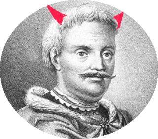 """Oj miał starosta przemyski z łańcuckim Djbłem skaranie boskie (na rycinie nieco podkoloryzowan Stanisław """"Djabeł"""" Stadnicki)."""