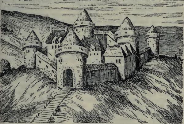 """Tak ponoć wyglądał przemyski zamek około roku 1600 (rycina pochodzi z książki Mieczysława Orłowicza""""Ilustrowany przewodnik po Przemyślu i okolicy"""")."""