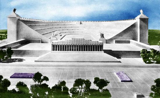Tak miał wyglądać Deutsche Stadion. Po ukończeniu miał pomieścić pół miliona osób. Model z 1938 r.
