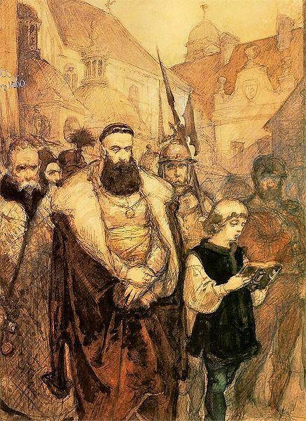 """Gdy Samuel Zborowski poczuł się pewnie w kraju o jego banicji przypomniał sobie starosta krakowski Jan Zamoyski i kazał katu ostrzyć miecz. (""""Samuel Zborowski prowadzony na śmierć"""")."""