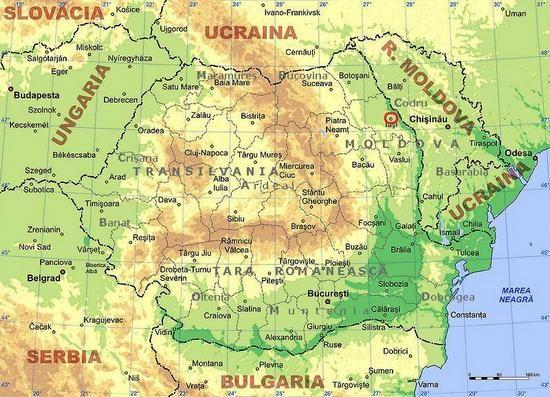 """Mapa Rumunii z zaznaczonymi Jassami, to właśnie w tym rejonie działało """"biura podróży niebieskich i sprzedaży miejsca w niebie """""""