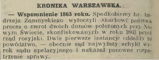 """Po długich bataliach, dopiero Sąd Najwyższy 17 października 1930 r. podzielił zdanie Zamoyskich, przekazując sprawę do ponownego rozpatrzenia Sądowi Apelacyjnemu. Donosił o tym m.in. krakowski """"Czas"""""""