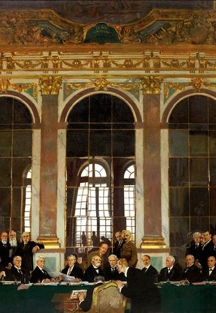 Mimo że traktat wersalski znacznie ograniczył potencjał militarny Niemiec, dowództwo Reichswehry było pewne swego. Na ilustracji fragment obrazu Williama Orpena przedstawiający podpisanie traktatu.