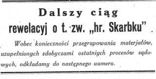 """Ta krótka informacja pojawiła się w siódmym numerze """"Gromu"""" z 1931 roku. Ósmego numeru już nie było. Pismo zbankrutowało."""