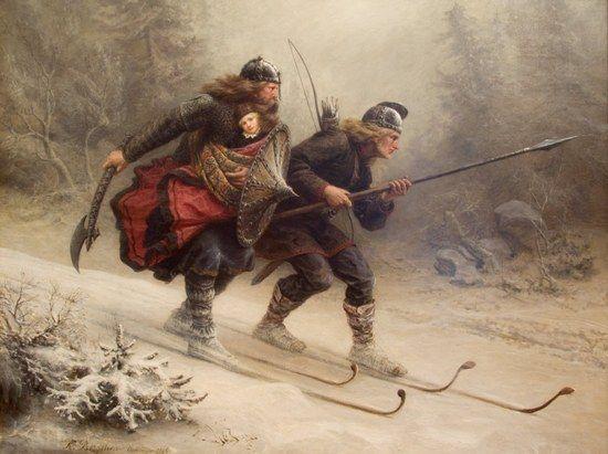 Jazda na nartach dla wikinga była bardzo ważna, czasami mogła ocalić nawet życie. Doskonałym przykładem był król Haakon IV. Powyżej obraz Knuta Larsona Bergsliena