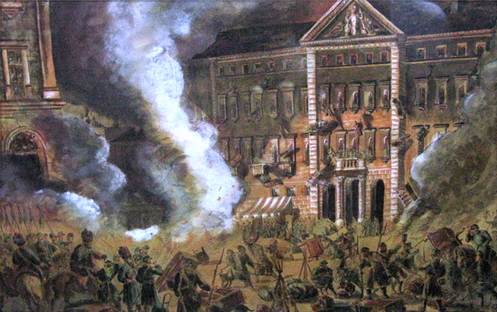 Obraz nieznanego autora na którym uwieczniono kozaków demolujących Dom Interesów Andrzeja Zamoyskiego po nieudanym zamachu na Berga.