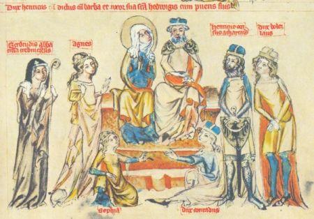 """Średniowieczne stroje dworskie na miniaturze przedstawiającej rodzinę księżnej Jadwigi Śląskiej. Brody mężczyzn """"przystojnie ułożone""""..."""