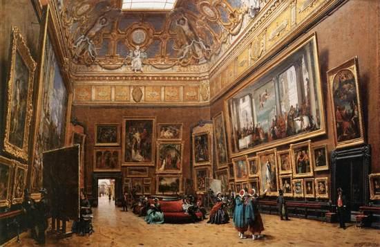 """Salon Carré z którego 21 sierpnia 1911 r. w biały dzień skradziono """"Mona Lisę""""."""