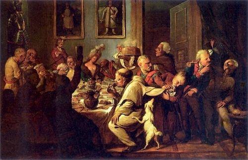 XVIII-wieczna uczta na dworze Radziwiłłów. Gorzałka leje się strumieniami...