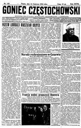 """Strona tytułowa numeru """"Gońca Częstochowskiego"""", który stał się podstawą do napisania artykułu."""