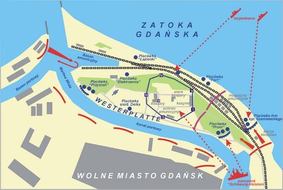 Plan Westerplatte z zaznaczonymi polskimi placówkami (autor Lonio17; lic. CC ASA 3.0)
