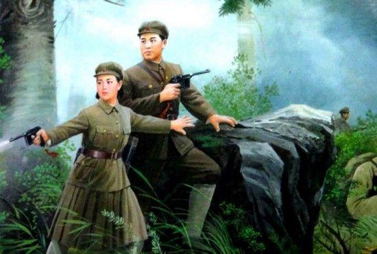 Kolejny popis możliwości północnokoreańskiej propagandy. Kim Ir Sen oraz Kim Dzong Suk gotowi do walki z Japończykami. Jak wiemy w tym czasie tak naprawdę przebywali w ZSRR.