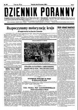 """Strona tytułowa """"Dziennika Porannego"""" z 25 czerwca 1936 r. w którym dokładnie opisano co składało się na cenę benzyny w II RP"""