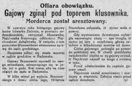 """Zawód gajowego w II RP był obarczony wysokim ryzykiem. I wcale nie chodzi tutaj o boreliozę, lecz o kłusowników którzy byli gotowi nawet zabić, gdy ktoś wchodził im w drogę. Dowodzi tego np. ten artykuł zamieszczony w """"Dzienniku Łódzkim"""" z 26 listopada 1931 r."""