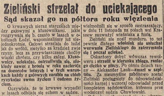 """Do kłusowników strzelali nie tylko gajowi. Również policjanci sięgali po broń. Czasami jednak nadużywali swoich uprawnień i trafiali do więzienia. Fragment artykułu zamieszczonego w """"Ilustrowanej Republice"""", 8 marca 1935 r."""