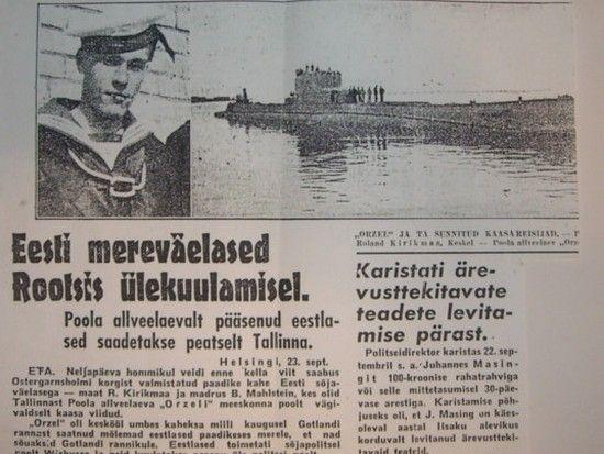 """Ucieczka Orła wzbudziła sporą sensację. Szeroko rozpisywała się na ten temat m.in. estońska prasa . Na zdjęciu artykuł z gazety """"Uus Eesti"""" (Nasza Estonia)."""