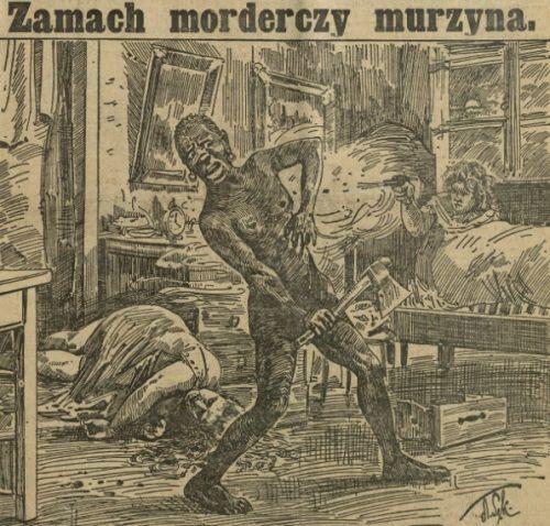 """Murzyn - czarny charakter przedwojennej prasy... (fot. z """"Ilustrowanego Kuryera Codziennego"""" z 1911 roku)."""