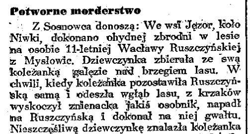 """""""Potworne morderstwo"""". Sprawa Wacławy Ruszczyńskiej na łamach """"Dziennika Porannego""""."""