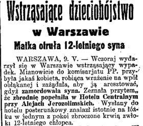 """Dzieciobójstwo w warszawskim hotelu. Fragment artykułu z """"Dziennika Porannego""""."""