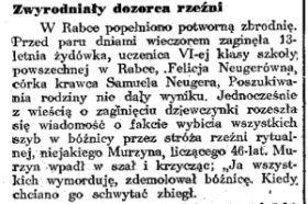 """Zwyrodniały dozorca rzeźni na łamach """"Dziennika Porannego""""."""