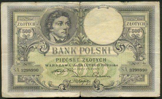 Międzywojenne 500 złotych. Szesnaście takich banknotów otrzymała Kazimiera Iłłakowiczówna za artykuł Marszałka. Jak się okazało, wysokość honorarium bardzo zaskoczyła Piłsudskiego.