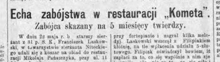 """Zabójstwo w restauracji """"Kometa"""". Wycinek z artykułu """"Dziennika Łódzkiego"""" podsumowującego sprawę."""