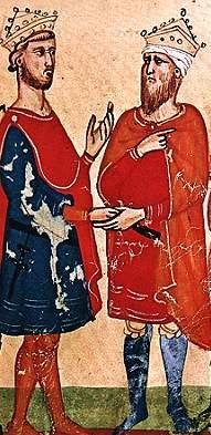 Fryderyk nie stronił od kontaktów z szemranymi charakterami... Tutaj w rozmowie z sułtanem Al-Kamilem.