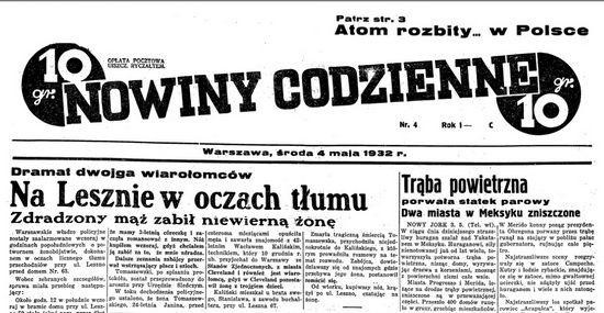 """O zbrodni dokonanej przez Wacława Tomaszewskiego warszawskie """"Nowiny Codzienne"""" donosiły już na pierwszej stronie."""