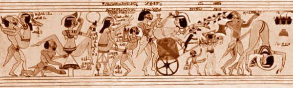 """Słynny papirus z Turynu, zwany też """"erotycznym papirusem"""". Życie codzienne starożytnych Egipcjan w pełnej krasie."""