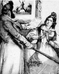 """""""A więc czy chce pani wziąć rozwód czy nie? Ma pani absolutnie wolny wybór!"""". Dowcip obrazkowy z XIX-wiecznej gazety."""