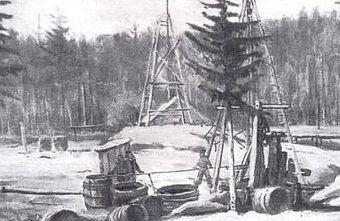 Kopalnia ropy w Bóbrce w początkowym okresie jej istnienia.