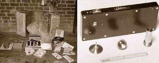 Zawartość jednej ze skrzyń zakopanych przez sabotażystów na plaży niedaleko Jacksonville. Po prawej jedn z zapalników czasowych mających posłużyć do produkcji bomb.