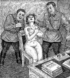 Brutalne przesłuchanie w wykonaniu dwóch roześmianych popleczników Dzierżyńskiego.