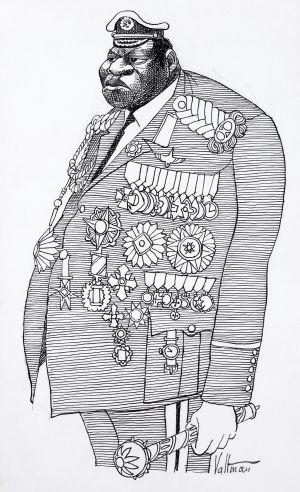 Idi Amin. Tłusty tyran na karykaturze autorstwa Edmunda S. Valtmana.