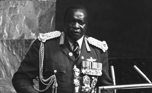 Idi Amin przemawia od Zgromadzenia Ogólnego ONZ w Nowym Jorku. Jest rok 1975. Przy władzy utrzyma się jeszcze przez cztery lata.