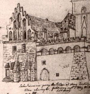 Ratusz krakowski na rysunku z XIX wieku. Szczególnie częstymi gośćmi w ratuszowym loszku były dziwki.
