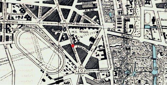Miejsce planowanego zamachu, zaznaczone na międzywojennym planie Warszawy.
