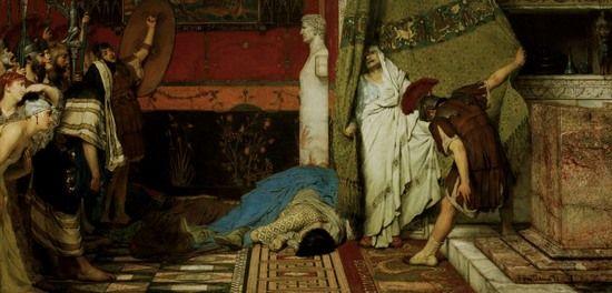 """Przerażony Klaudiusz na obrazie Lawrence'a Alma Tadema """"Śmierć Kaliguli""""."""