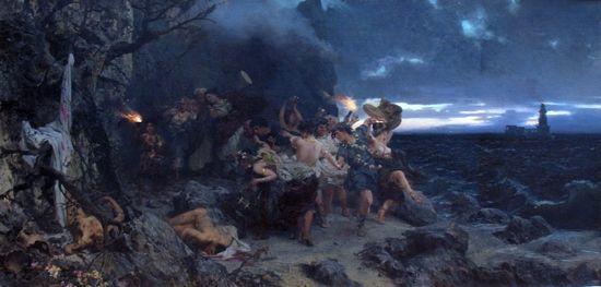 Tak w XIX wieku wyobrażano sobie orgie Tyberiusza. Obraz Siemiradzkiego.