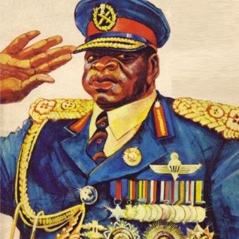 "Idi Amin Dada. Fragment plakatu promującego film ""Autoportret Dyktatora""."